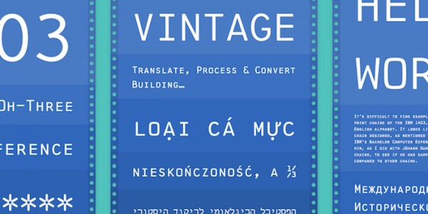 1403 Vintage Mono Pro typeface interactive specimen site