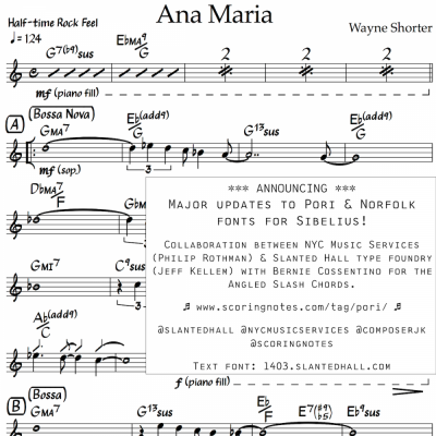 Pori Music Notation Fonts and Norfolk Chord Symbol Fonts Announcement